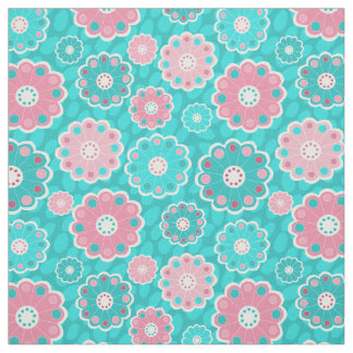 Pink and aqua fresh floral fabric
