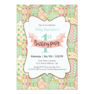 Pink and Aqua Hot Air Balloons Birthday Party Card