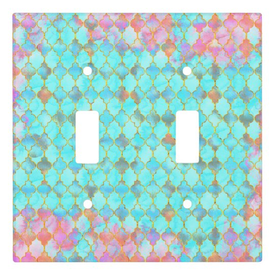 Pink and Aqua Maroccan pattern Light Switch Cover