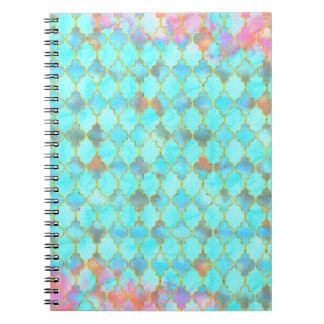 Pink and Aqua Maroccan pattern Note Books