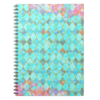 Pink and Aqua Maroccan pattern Notebooks