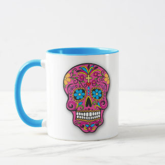 Pink and Aqua Mexican Sugar Skull Day of the Dead Mug