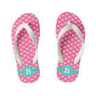 Pink and Aqua Whales Square Monogram Kid's Flip Flops