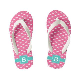 Pink and Aqua Whales Square Monogram Kid's Flip Flops