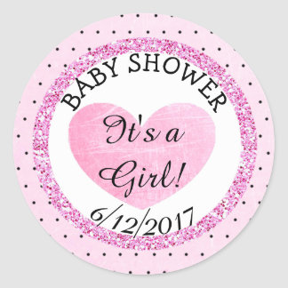 Pink and B|lack Baby Shower Sticker