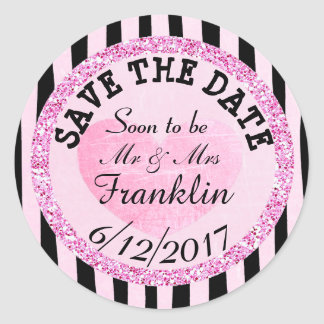 Pink and B|lack SAVE THE DATE Wedding Sticker