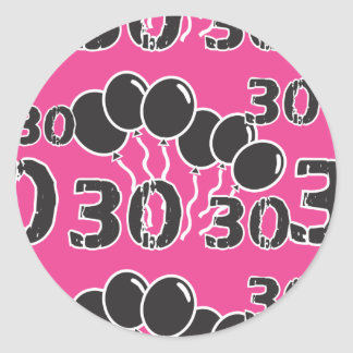 PINK and BLACK 30th Birthday - 30 yrs old Bday Classic Round Sticker