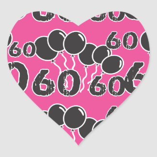 PINK and BLACK 60th Birthday - 60 yrs old Bday Heart Stickers