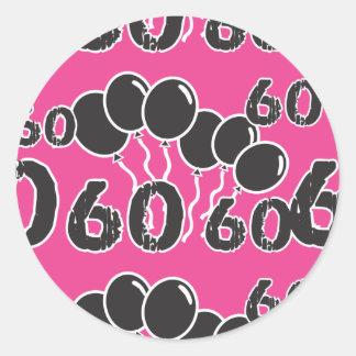 PINK and BLACK 60th Birthday - 60 yrs old Bday Round Sticker