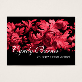 Pink and Black Acanthus Scroll Business Card
