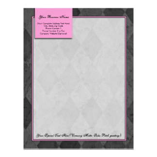 Pink and Black Argyle Letterhead