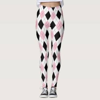 pink and black argyle pattern leggings