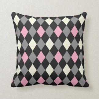 Pink and Black Argyle Throw Pillow