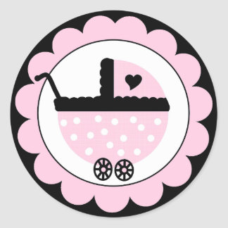 Pink and Black Baby Stroller-Baby Shower Classic Round Sticker