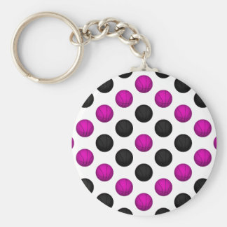 Pink and Black Basketball Pattern Basic Round Button Keychain