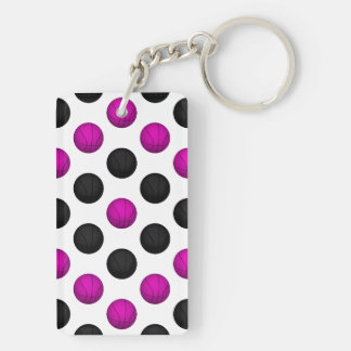 Pink and Black Basketball Pattern Double-Sided Rectangular Acrylic Keychain