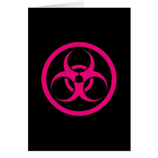 Pink and Black Bio Hazard Circle Greeting Card