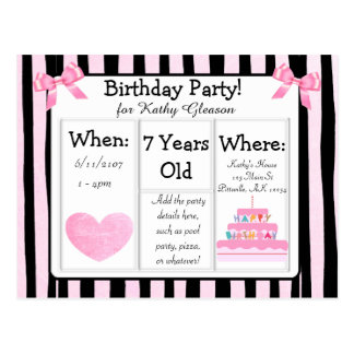 Pink and Black Birthday Party Postcard