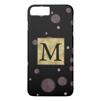 Pink and Black Bokeh Confetti Dots Monogram iPhone 7 Plus Case
