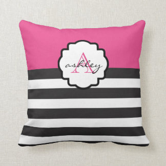 Pink and Black Bold Stripe Monogram Pillow