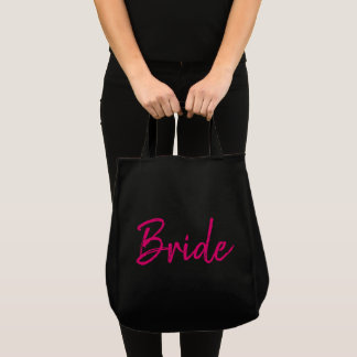 Pink and Black Bride Fashion Tote Bag