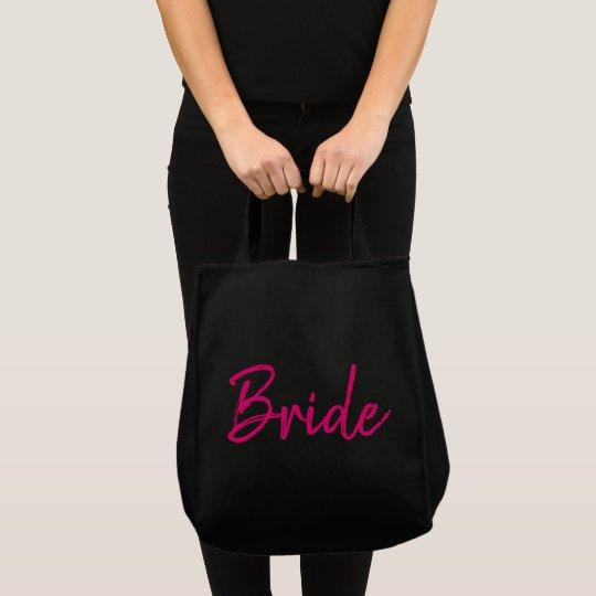 Pink and Black Bride Fashion Tote Bag