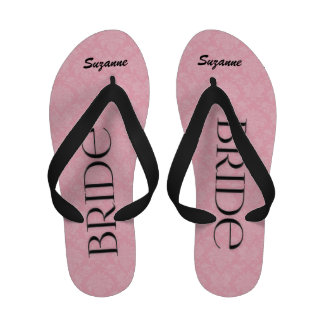 Pink and Black Bride s Wedding Slippers Flip Flops