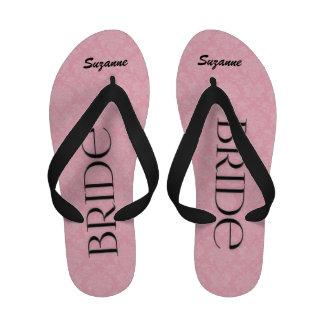 Pink and Black Bride's Wedding Slippers Flip Flops