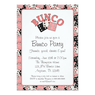 "Pink and Black Bunco Party 5"" X 7"" Invitation Card"