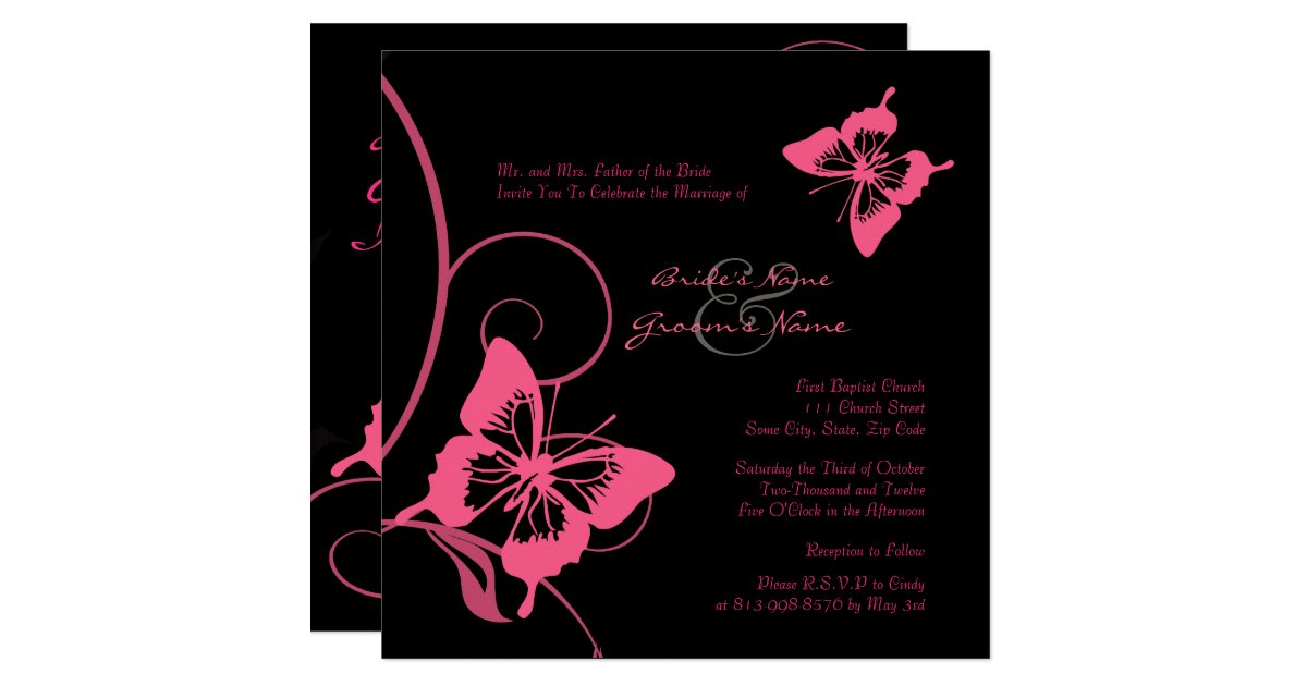 Pink And Black Wedding Invitations: Pink And Black Butterfly Wedding Invitation