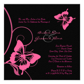 Pink and Black Butterfly Wedding Invitation