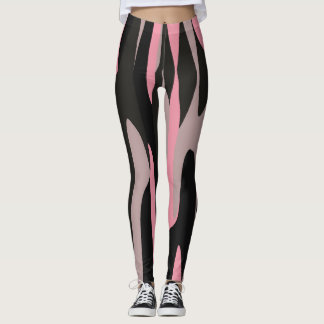 Pink and Black Camo abstract 2 Leggings