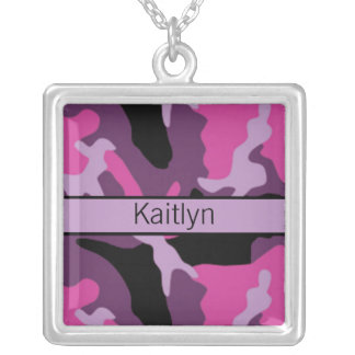 Pink and Black Camo Monogrammed Necklace