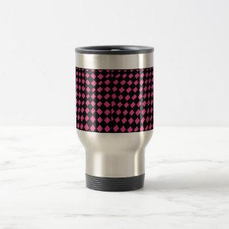 pink and black checker travel mug