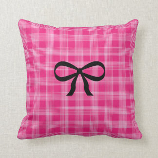 Pink and Black Checkered Bow Pillow