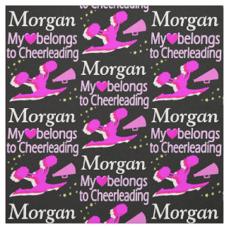 PINK AND BLACK CHEERLEADER LOVE PERSONALIZE FABRIC