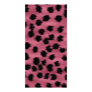 Pink and Black Cheetah Print Pattern Picture Card