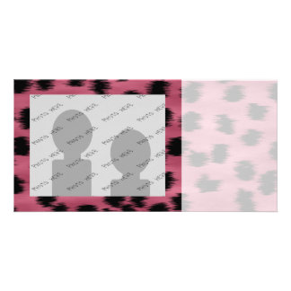 Pink and Black Cheetah Print Pattern. Customized Photo Card