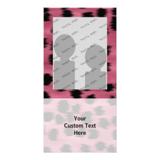 Pink and Black Cheetah Print Pattern. Photo Card Template
