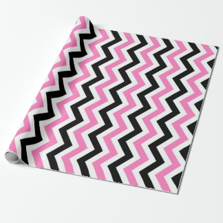 Pink and black chevron pattern wrapping paper
