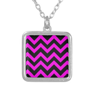 Pink And Black Chevrons Silver Plated Necklace