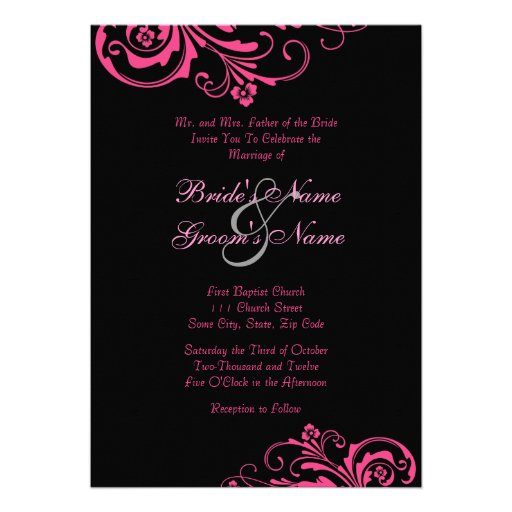 Pink and Black Chic Wedding Invitation