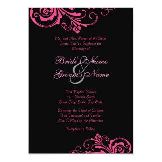 Pink and Black Chic Wedding Invitation
