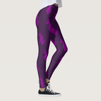 Pink and Black Chihuahua Silhouette Leggings