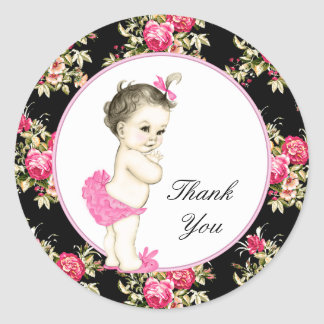 Pink and Black Chintz Rose Baby Shower Classic Round Sticker