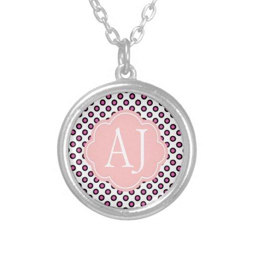 pink and black circle polka dots monogram pendant