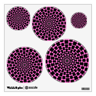 Pink and Black Circle Shaped Wall Decals