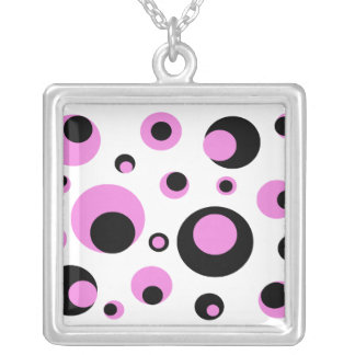 pink and black circles necklace