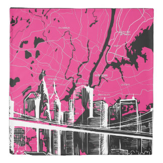 Pink and Black City Map, New York Duvet Cover
