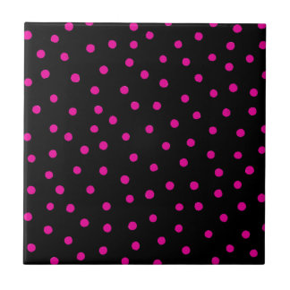 Pink And Black Confetti Dots Pattern Ceramic Tiles